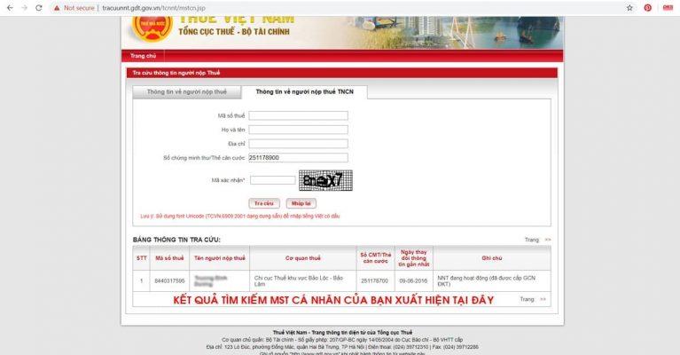 bước 4 tra mã số thuế cá nhân bằng thẻ căn cước online